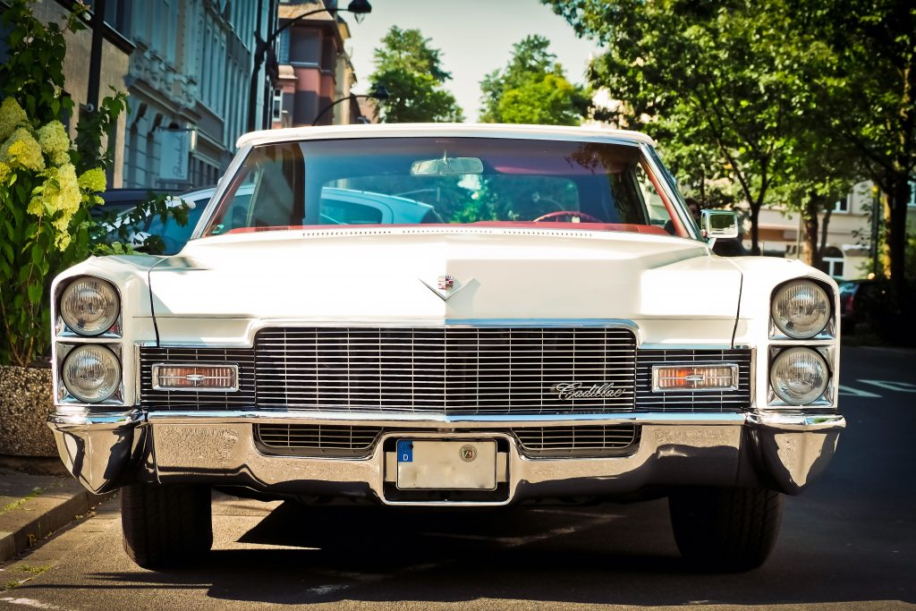 Vintage white Cadillac in the daylight