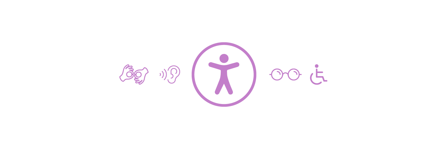 Accessibility Banner with sign language, hearing, vision, and mobility icons